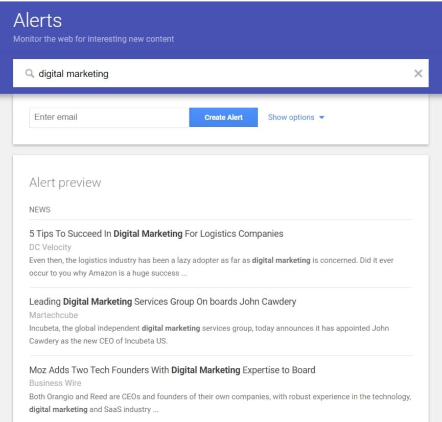 google alerts preview dengan keyword digital marketing