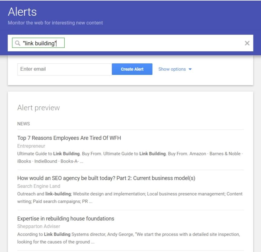 contoh google alerts dengan keyword link building