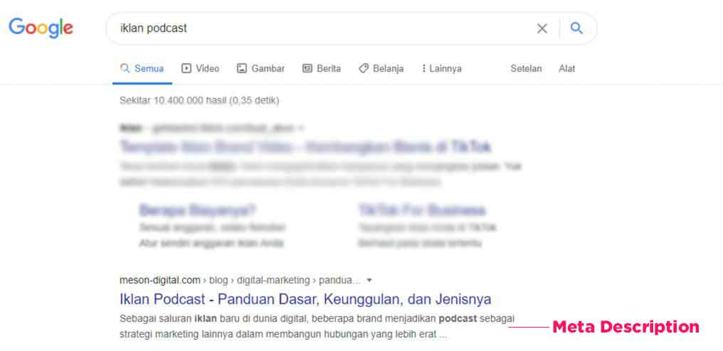 contoh meta description google search result website meson