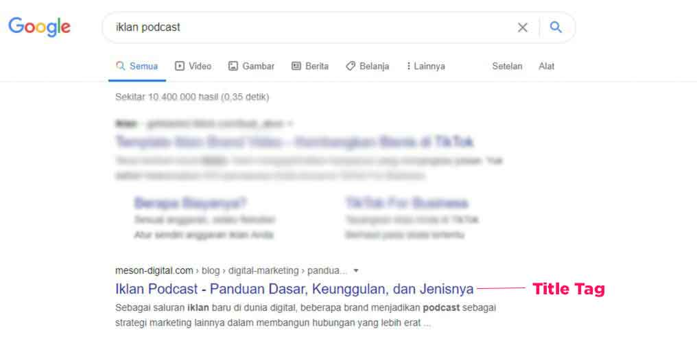 contoh title tag google search result website meson